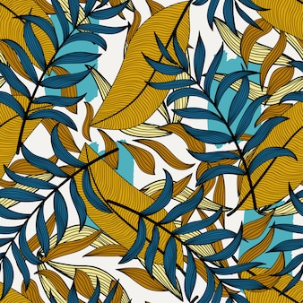 Abstract tropical seamless pattern with colorful leaves and plants