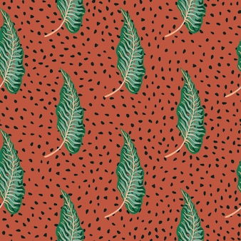 Abstract tropical seamless pattern with creative leaves on dots background.