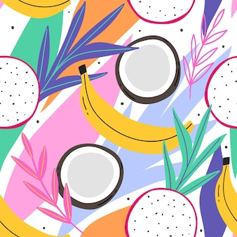 葉フルーツココナッツバナナと抽象的な熱帯のシームレスなパターン
