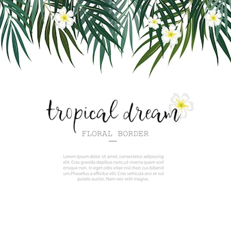 Abstract tropical white floral wallpaper background