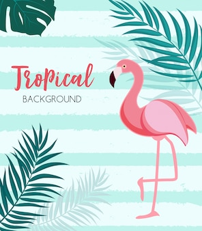 Abstract tropical  with flamingo and palm leaves