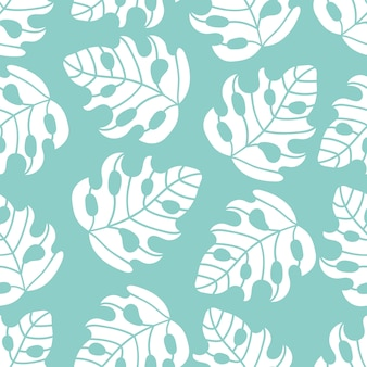 Abstract tropics leaves seamless pattern
