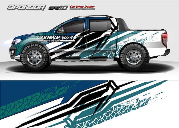 Abstract  for truck, racing car wrap design and vehicle livery