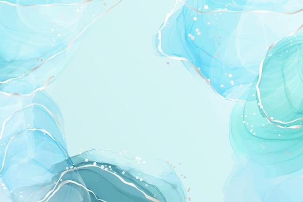 シルバーの線と点で抽象的なターコイズとティールブルーの液体大理石の水彩画の背景