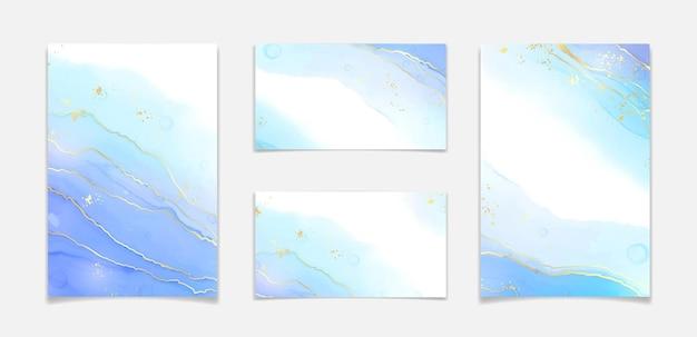 Абстрактный бирюзовый и бирюзовый синий жидкий мраморный акварельный фон с волновым узором и золотыми трещинами