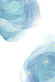 Абстрактный бирюзовый и бирюзовый синий жидкий мраморный акварельный фон с волновым узором