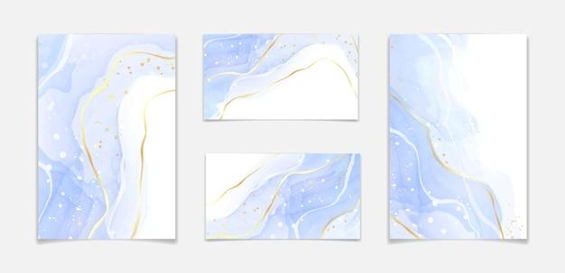 물결 무늬가 있는 추상 청록색 및 청록색 액체 대리석 수채화 배경