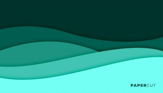抽象的なターコイズ色のpapercutスタイルの背景デザイン