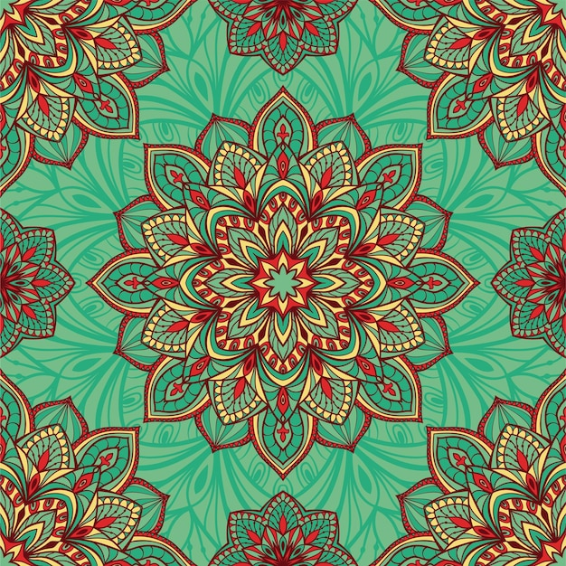 Abstract turquoise indian pattern with mandalas.