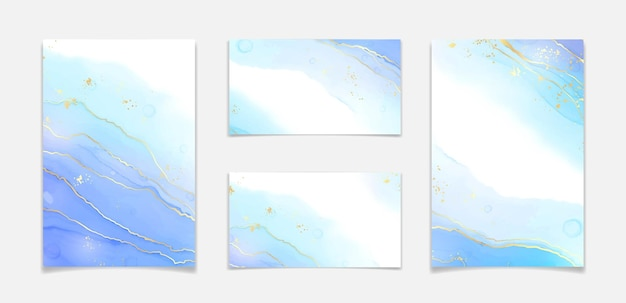 Abstract turquoise and teal blue liquid marbled watercolor background with wave pattern and golden cracks