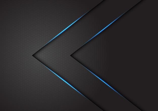 Abstract twin blue light arrow direction on dark grey hexagon mesh background.