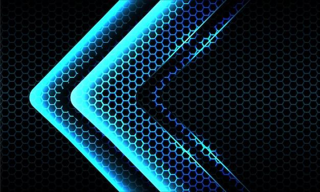 暗い六角形のメッシュの背景に抽象的なツインブルーライトネオン矢印光沢のある方向
