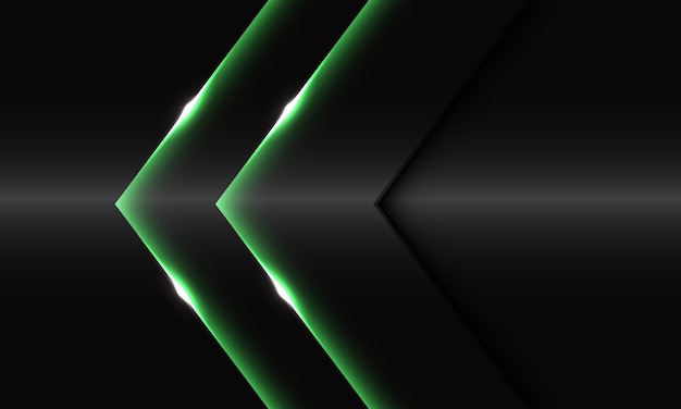 Abstract twin green glossy arrow direction on dark grey metallic design modern luxury futuristic background.