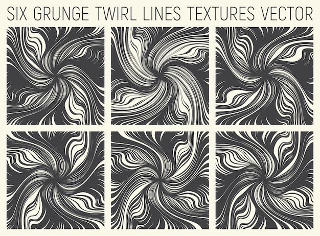 Abstract twirl lines textures set