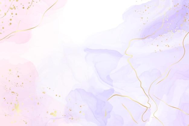 Абстрактный двухцветный жидкий мраморный фон из роз и лаванды с золотыми полосами и блестящей пылью