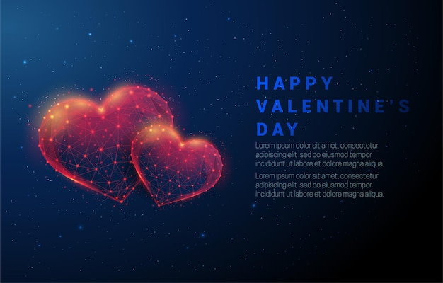 Abstract two red heart shapes. happy valentine's day. low poly style design. abstract . wireframe light structure.