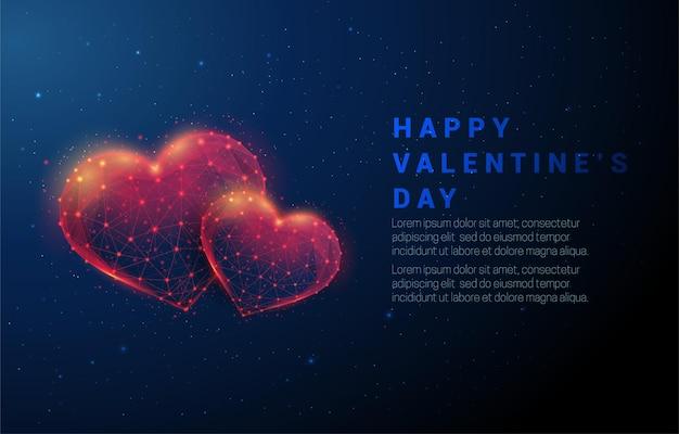 두 개의 붉은 심장 모양을 추상화합니다. 행복한 발렌타인 데이. 낮은 폴리 스타일 디자인. 요약 . 와이어 프레임 조명 구조.