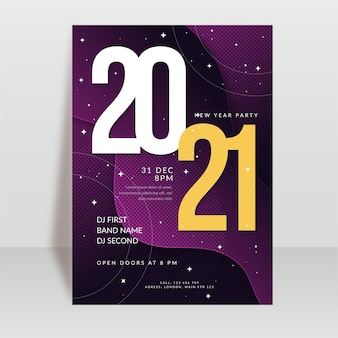 Abstract typographic new year 2021 party flyer template