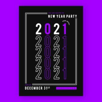 Modello di volantino festa astratto tipografico nuovo anno 2021