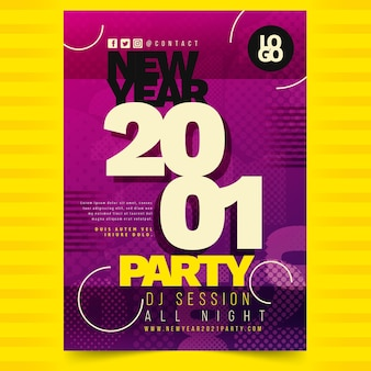 Абстрактный типографский шаблон флаера вечеринки новый год 2021
