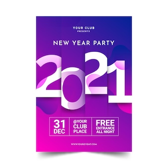 Abstract typographic new year 2021 party poster template