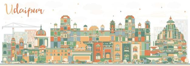 色の建物と抽象的なウダイプールのスカイライン。ベクトルイラスト。歴史的な建築とビジネス旅行と観光の概念。プレゼンテーションバナープラカードとwebサイトの画像。