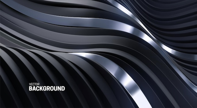 Abstract undulated background with black and silver 3d curvy stripes