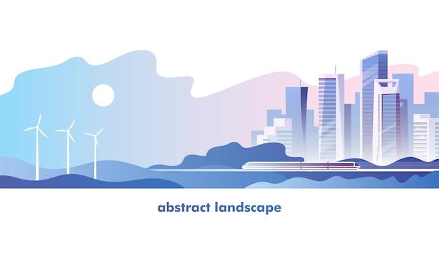 抽象的な都市景観イラスト