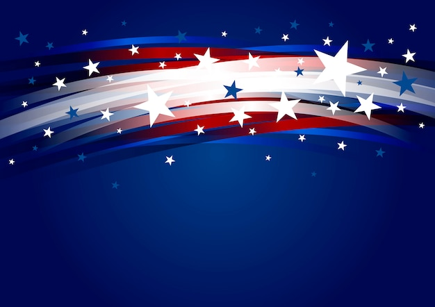 Abstract usa background design of line gradient and star 4th of july independence day