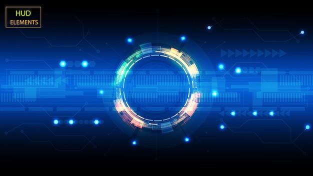 輝く未来的な要素からの抽象的なユーザーhudインターフェース。 eps10。 Premiumベクター