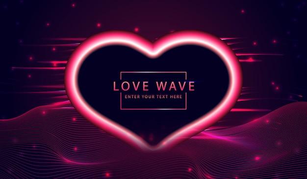抽象的なバレンタインデーの背景ダイナミックな愛の光沢のある形状とワープ波線3dグリッド地面。