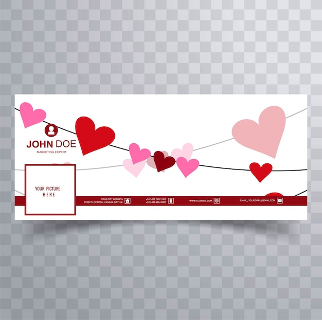 Abstract valentine's day facebook cover design illustration