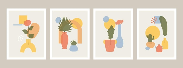 抽象的な花瓶のポスター。抽象的なミニマリストの花瓶、花と葉の形、手描きの静物セット