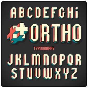 Abstract vector 3d typeface