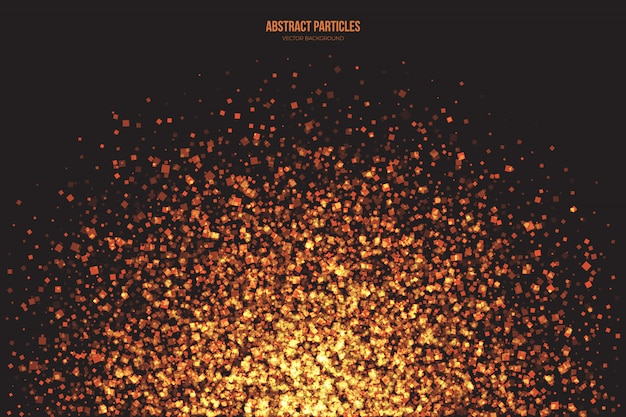 Abstract vector background bright golden shimmer particles