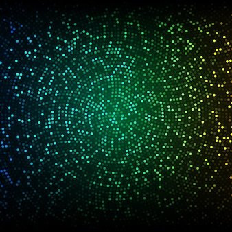 Abstract vector background. glowing mosaic of circles on the dark green-blue background.