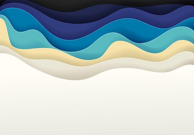 砂浜と海の抽象的なベクトルの背景