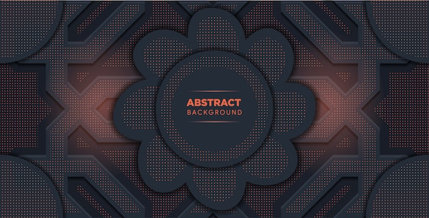 Abstract vector background with dark gray metal layers. flower shape in the middle.