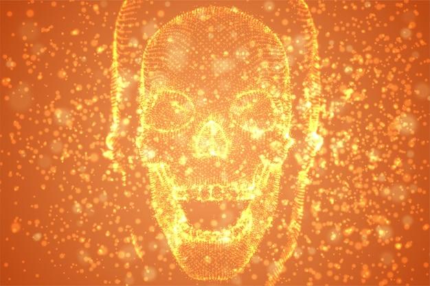 Абстрактные векторные фон с частицами в виде человеческого черепа. оранжевый распад