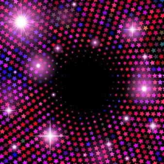 光沢のある星と抽象的なベクトルの背景