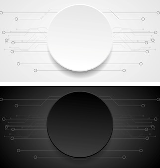 Абстрактные векторные баннеры. иллюстрация технического рисунка. бумажный дизайн