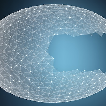 Abstract vector blue mesh background. chaotically connected points and polygons flying in space. flying debris. futuristic technology style card. lines, points, circles and planes. futuristic design.