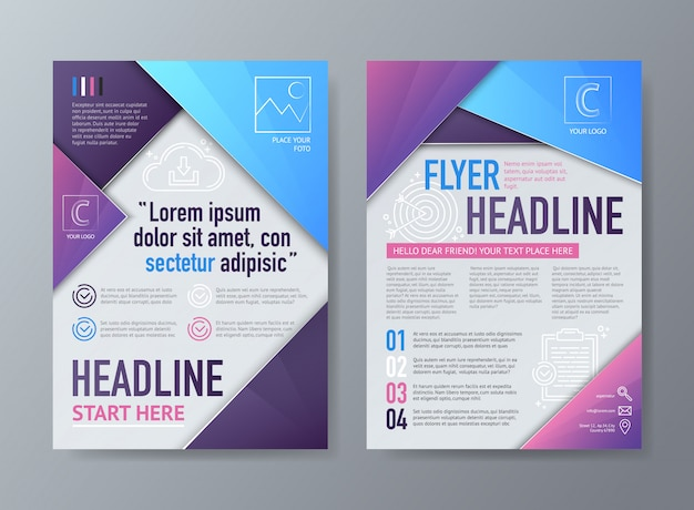 Abstract vector brochure flyer design template