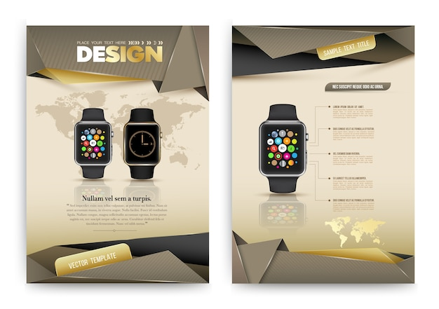 Abstract vector brochure template with smart watch