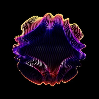 Abstract vector colorful mesh sphere on dark background. corrupted point sphere. chaos aesthetics.