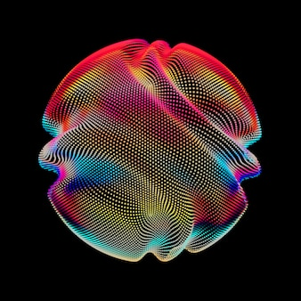 Abstract vector colorful mesh sphere on dark background.