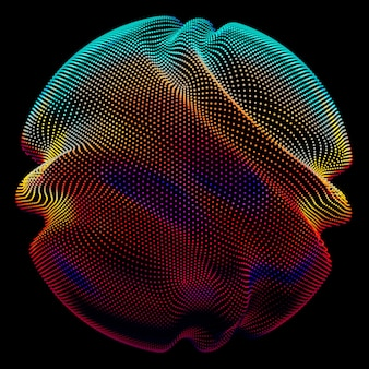 暗闇の中で抽象的なベクトルカラフルなメッシュ球。