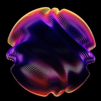 暗闇の中で抽象的なベクトルカラフルなメッシュ球
