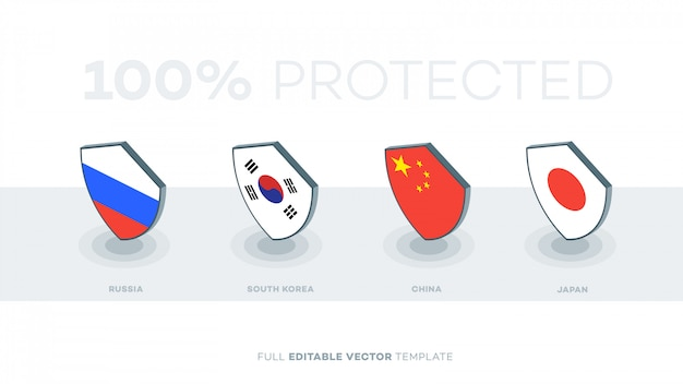 Abstract vector country flag shield.