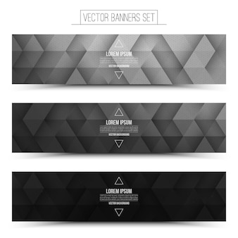 Abstract vector digital internet technology banners set. black white